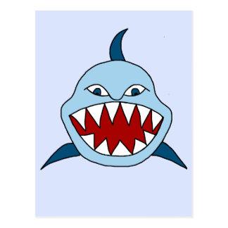 Tiburón enojado tarjeta postal