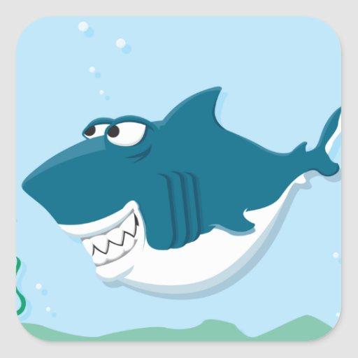 tiburón feliz del dibujo animado lindo pegatina cuadrada