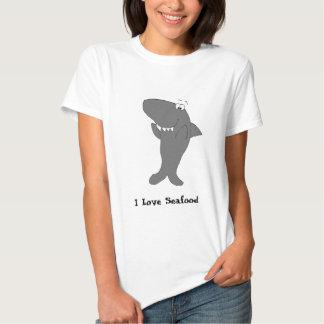 Tiburón feliz del dibujo animado que aplaude polera
