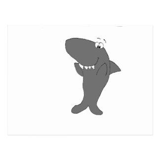 Tiburón feliz del dibujo animado que aplaude postal