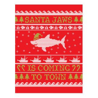 Tiburón feo del navidad del suéter de los tarjeta postal