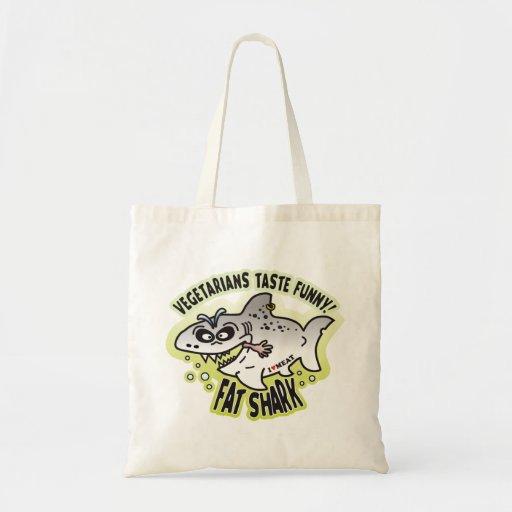 Tiburón gordo divertido de los vegetarianos bolsas de mano