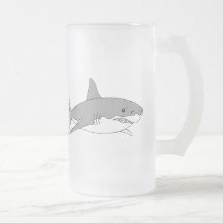 Tiburón gris taza de cristal