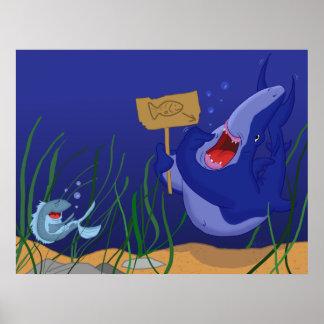 Tiburón hambriento y poster de risa de los pescado