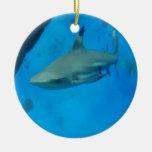 Tiburón inclinado pequeño negro ornamento para arbol de navidad