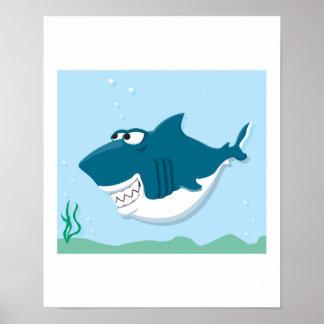 tiburón lindo del dibujo animado impresiones