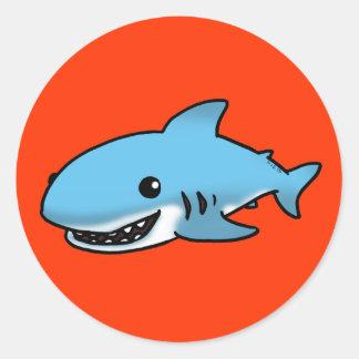 Tiburón lindo etiquetas redondas