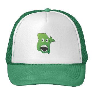 Tiburón malo verde gorros bordados