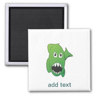 Tiburón malo verde imán para frigorifico