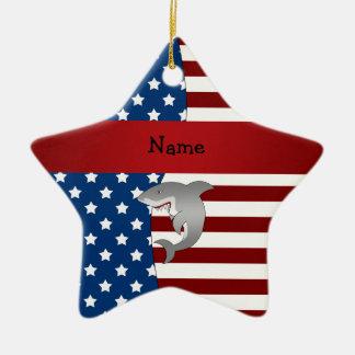 Tiburón patriótico conocido personalizado ornamento para reyes magos