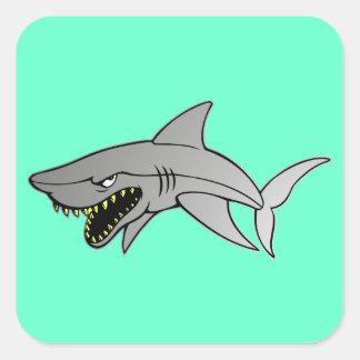 Tiburón Pegatina Cuadrada