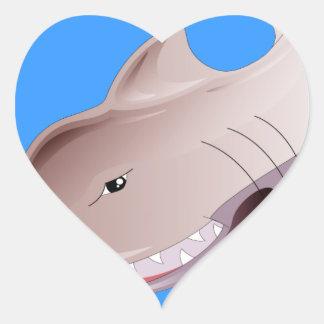 tiburón peligroso pegatina en forma de corazón