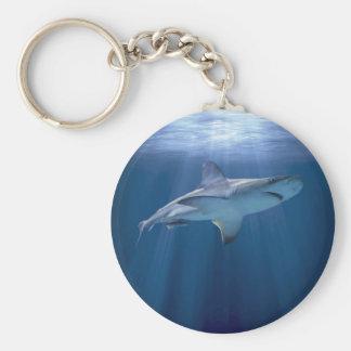 Tiburón que cruza llavero redondo tipo pin