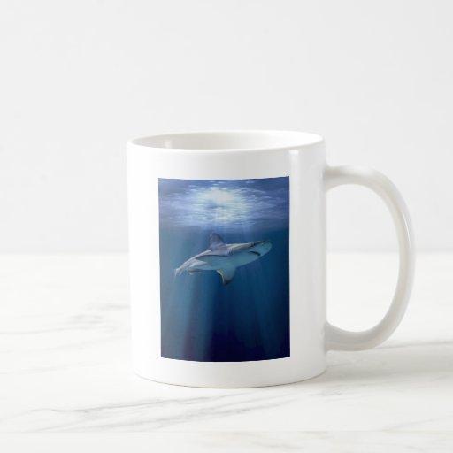 Tiburón que cruza tazas de café