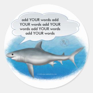 Tiburón que habla pegatina redonda
