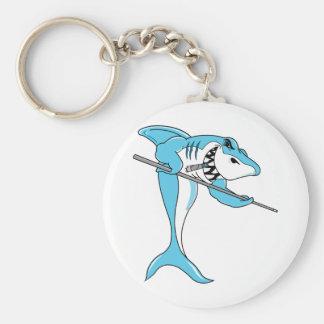 Tiburón que juega billares llavero personalizado