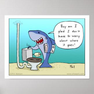 Tiburón que limpia el poster del retrete con un ch