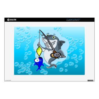 Tiburón que pesca un dibujo animado de los portátil skins