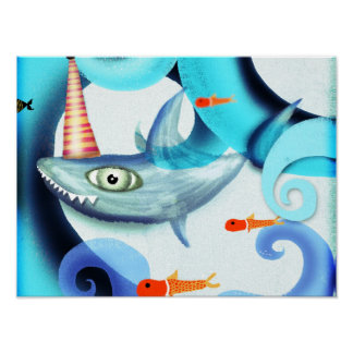 Tiburón que practica surf Swirly Posters