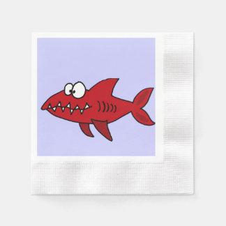 Tiburón rojo divertido servilletas desechables
