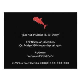 """Tiburón rojo en negro invitación 4.25"""" x 5.5"""""""