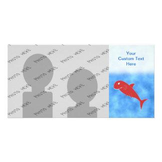 Tiburón rojo tarjeta fotográfica personalizada
