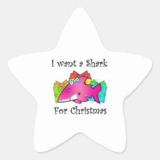 Tiburón rosado en presentes colcomanias forma de estrella