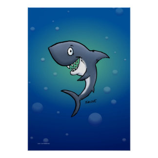 Tiburón sonriente en el poster submarino azul del