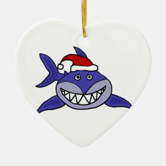 Tiburón sonriente que lleva arte del navidad del g ornamento para reyes magos