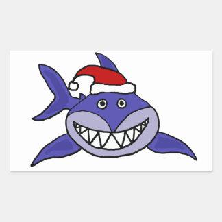 Tiburón sonriente que lleva arte del navidad del rectangular pegatina