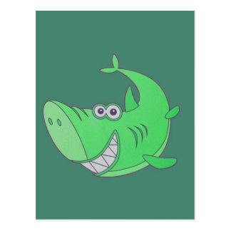 Tiburón verde grande del dibujo animado postales