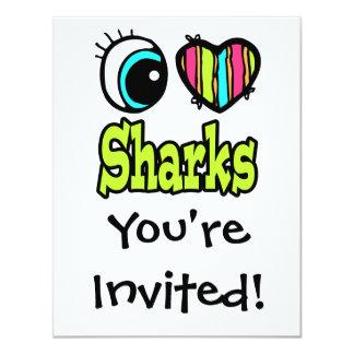 """Tiburones brillantes del amor del corazón I del Invitación 4.25"""" X 5.5"""""""