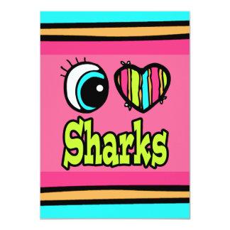 """Tiburones brillantes del amor del corazón I del Invitación 4.5"""" X 6.25"""""""