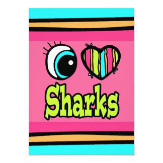 """Tiburones brillantes del amor del corazón I del Invitación 5"""" X 7"""""""