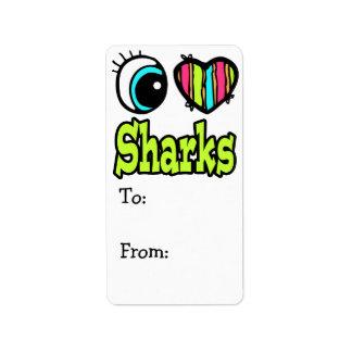 Tiburones brillantes del amor del corazón I del oj Etiquetas De Dirección