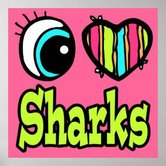 Tiburones brillantes del amor del corazón I del oj Póster