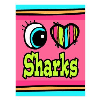 Tiburones brillantes del amor del corazón I del Tarjeta Postal