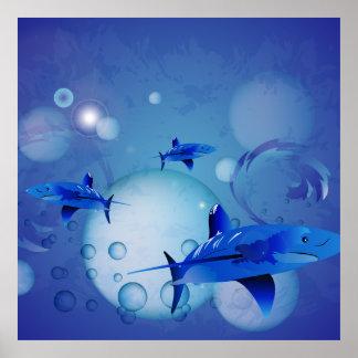Tiburones con las burbujas poster