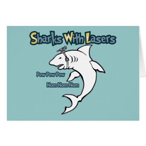 Tiburones con los lasers felicitaciones