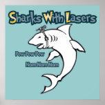 Tiburones con los lasers poster