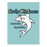 Tiburones con los lasers tarjeta postal