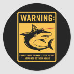 tiburones con los rayos laser del frickin atados pegatinas redondas