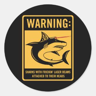 tiburones con los rayos laser del frickin atados pegatina redonda