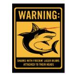 tiburones con los rayos laser del frickin atados tarjetas postales