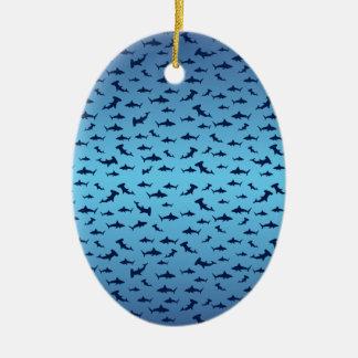 Tiburones de la cabeza de martillo de Mutilple Adorno Ovalado De Cerámica