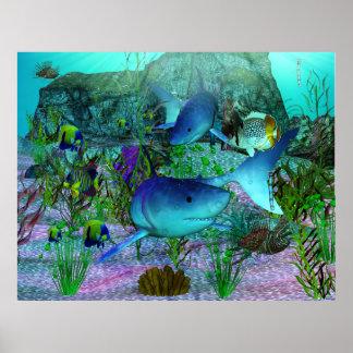 Tiburones de la exploración 3D Posters