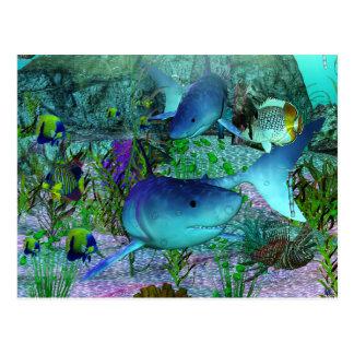 Tiburones de la exploración 3D Postales