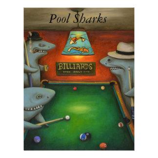 Tiburones de la piscina con las letras plantilla de membrete