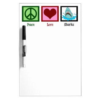 Tiburones del amor de la paz pizarras blancas