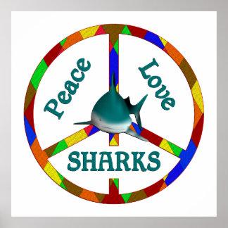 Tiburones del amor de la paz póster